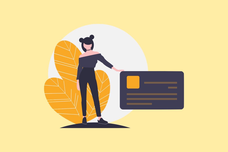女性とカード