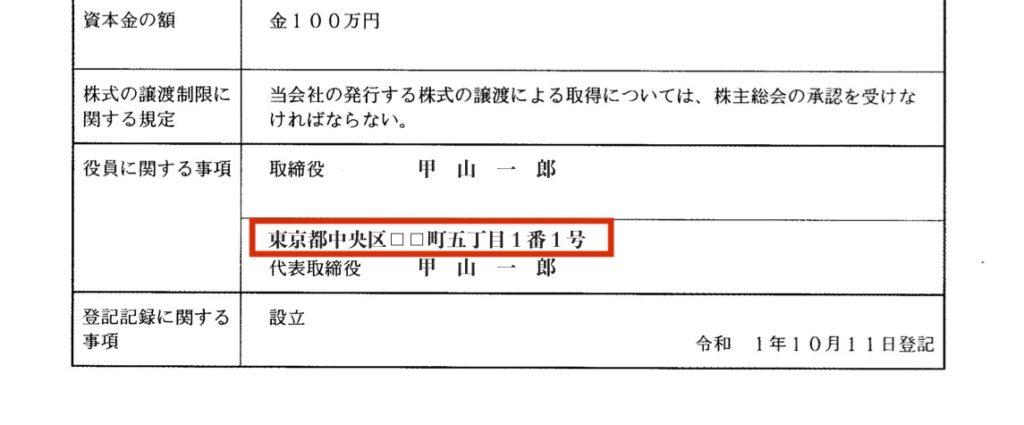 代表取締役の登記事項の例