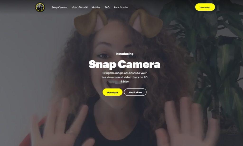 SnapCameraのトップ画面
