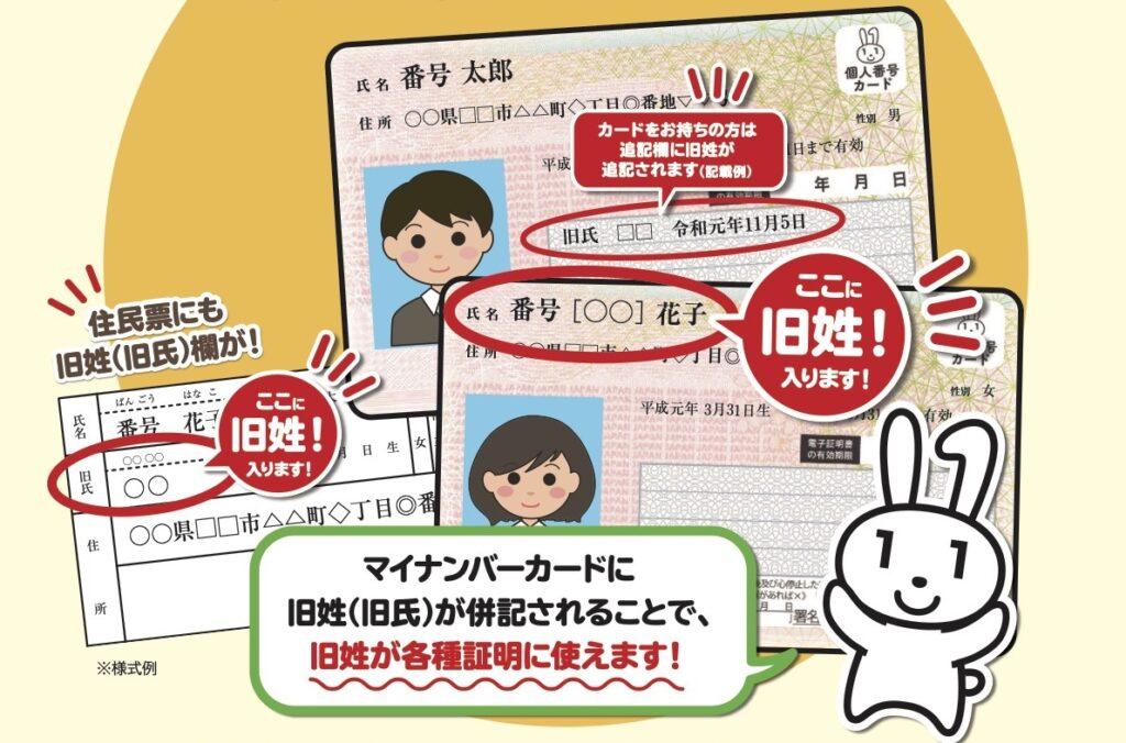 住民票・マイナンバーカードに旧姓併記できます