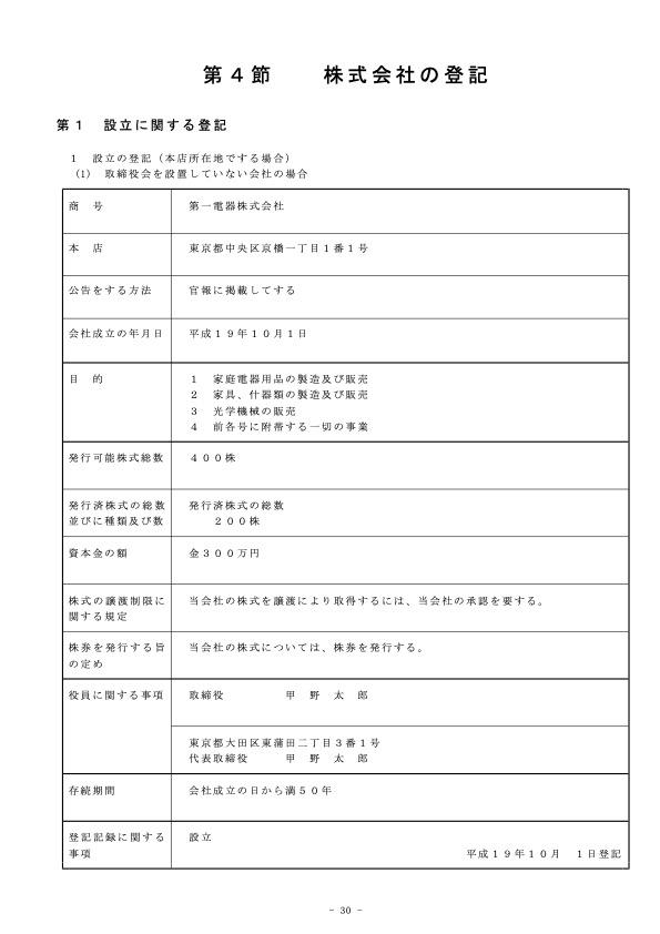 商業登記記録例(抜粋)