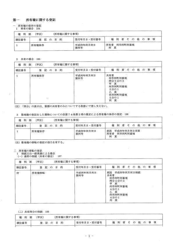 不動産登記記録例(抜粋)